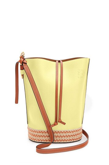 LOEWE Gate Bucket Bag In Raffia And Soft Grained Calfskin Light Yellow/Tan front