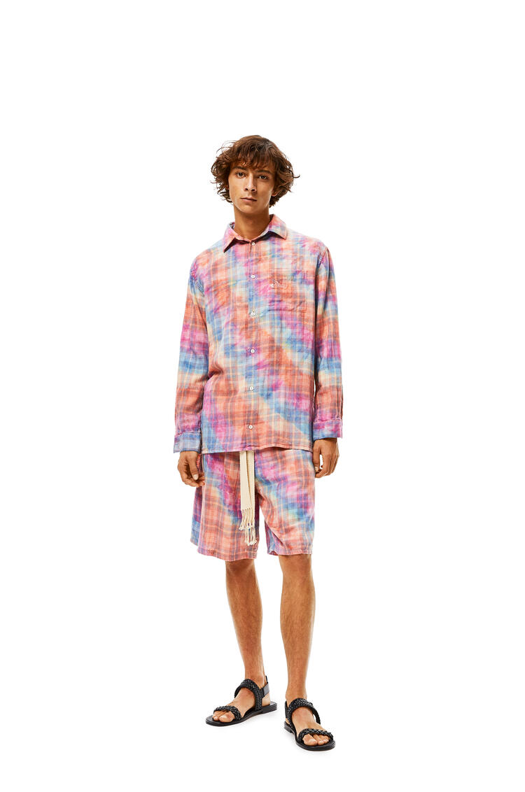 LOEWE Check shorts in tie dye cotton Multicolor pdp_rd