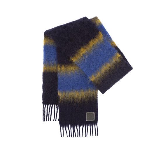 LOEWE 23X185 Scarf Varsity Stripes Yellow/Navy front