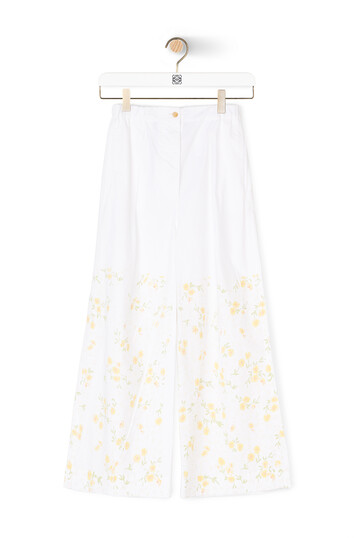 LOEWE Flower Print Cropped Trousers Blanco/Amarillo front