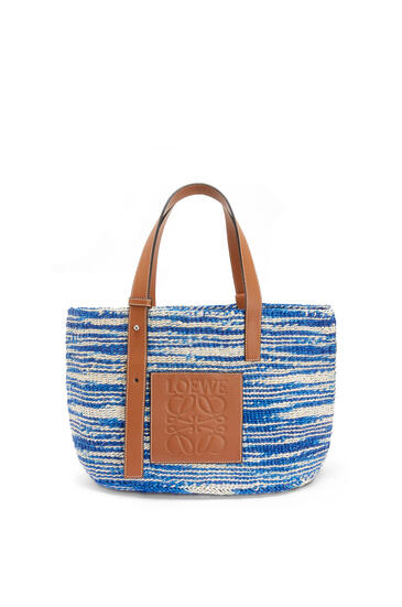 LOEWE Basket bag in sisal and calfskin Blue/Tan pdp_rd