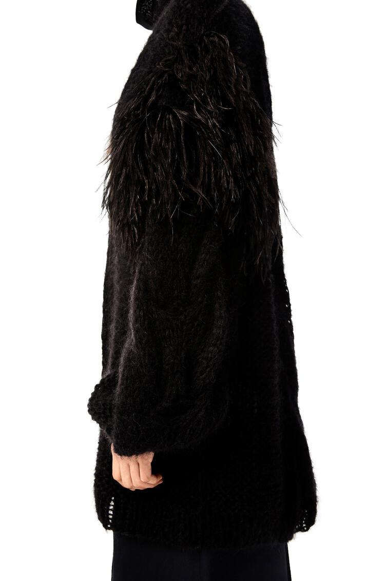 LOEWE Feather trim cardigan in mohair Black pdp_rd