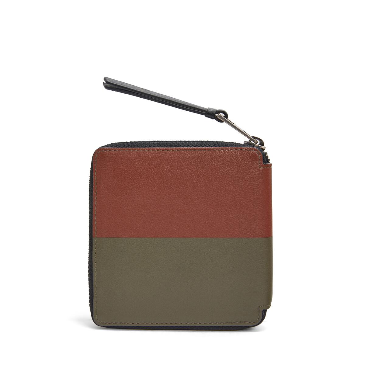 LOEWE Square Zip Wallet Bicolor Khaki Green/Cognac front
