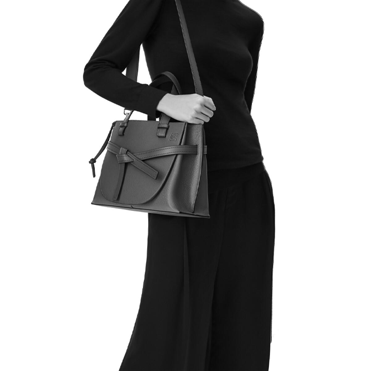 LOEWE Gate Top Handle Small Bag Black front