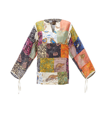 LOEWE Paula Print Patchwork Tunic Multicolor front