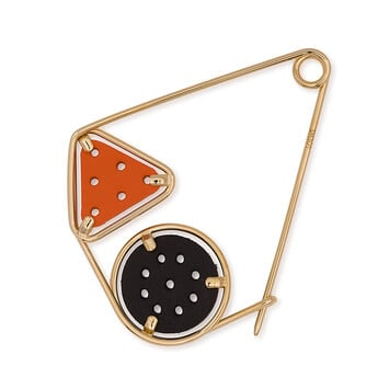 LOEWE Small Double Meccano Pin Black/Orange/Gold front