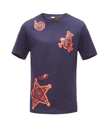 LOEWE Paula Print T-Shirt Animals Navy Blue front