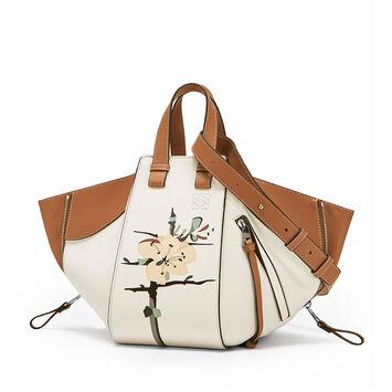 LOEWE Hammock Botanical Small Bag Soft White/Tan front