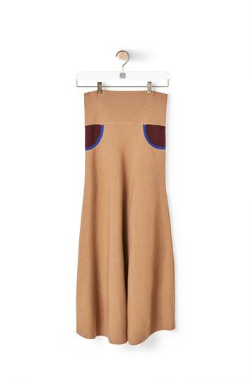 LOEWE Trompe Loeil Knit Skirt Camel/Burgundy front