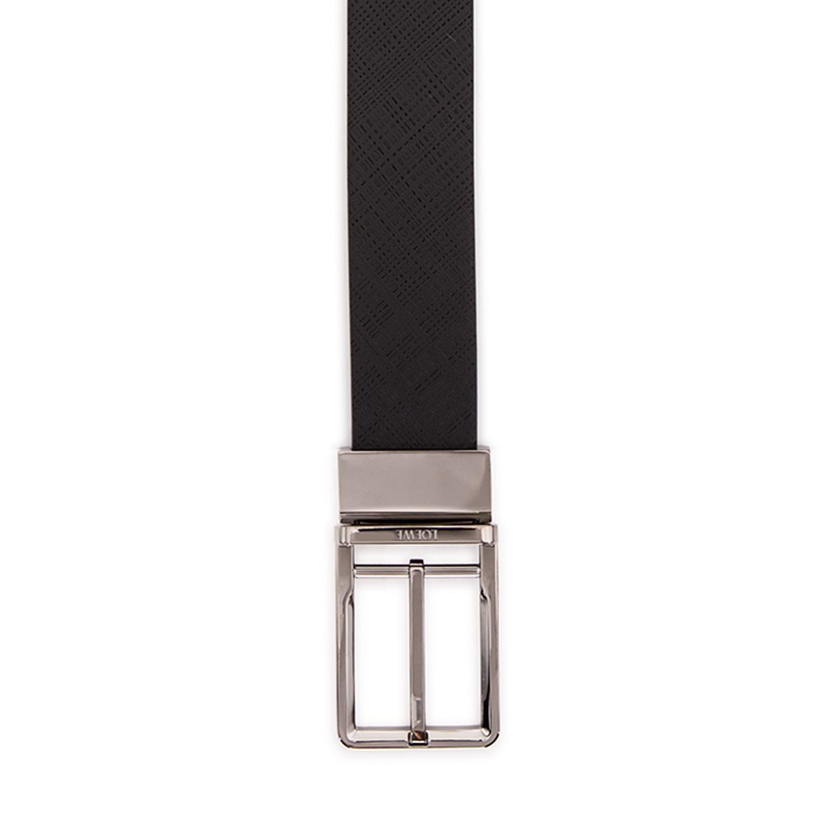 LOEWE Cinturon  Formal 3.2Cm Adj/Rev Negro/Rutenio front