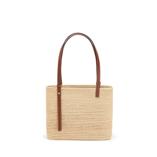 LOEWE Small Square Basket Bag In Raffia And Calfskin Natural/Pecan front