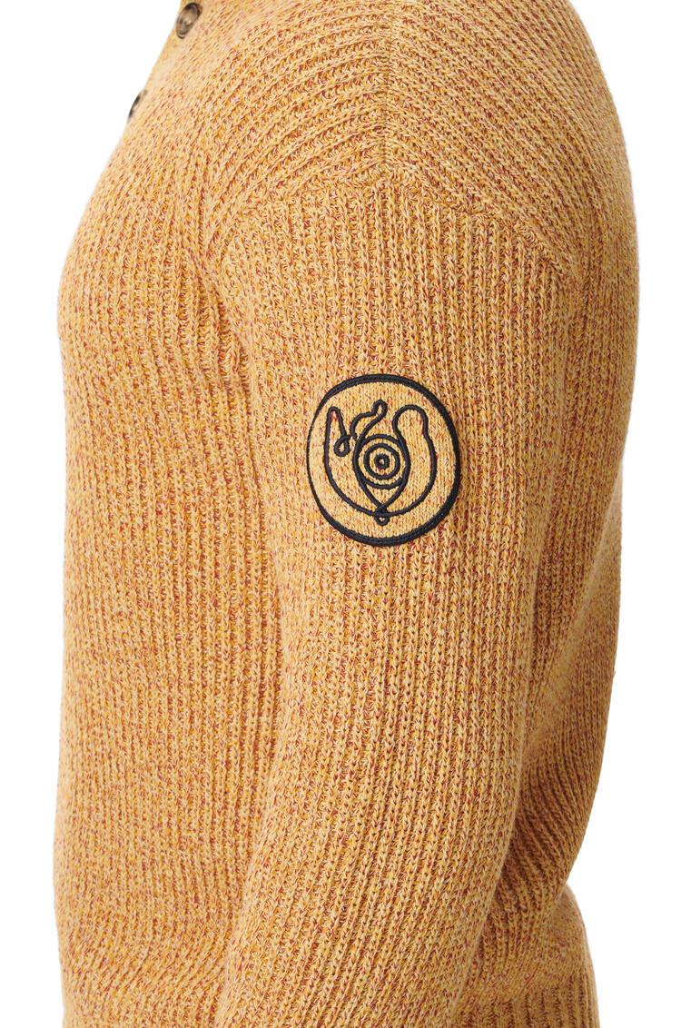 LOEWE Melange High Neck Sweater In Cotton Mustard pdp_rd