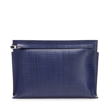 LOEWE Linen T Pouch Navy Blue front