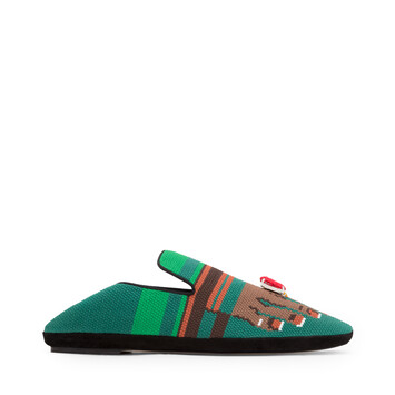 LOEWE Embroidered Slipper Toes Verde/Marron front