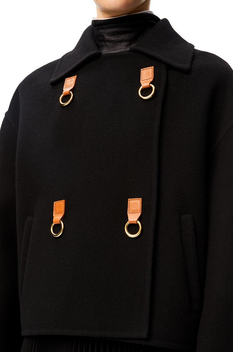 LOEWE Cropped double-breasted jacket in wool Black pdp_rd