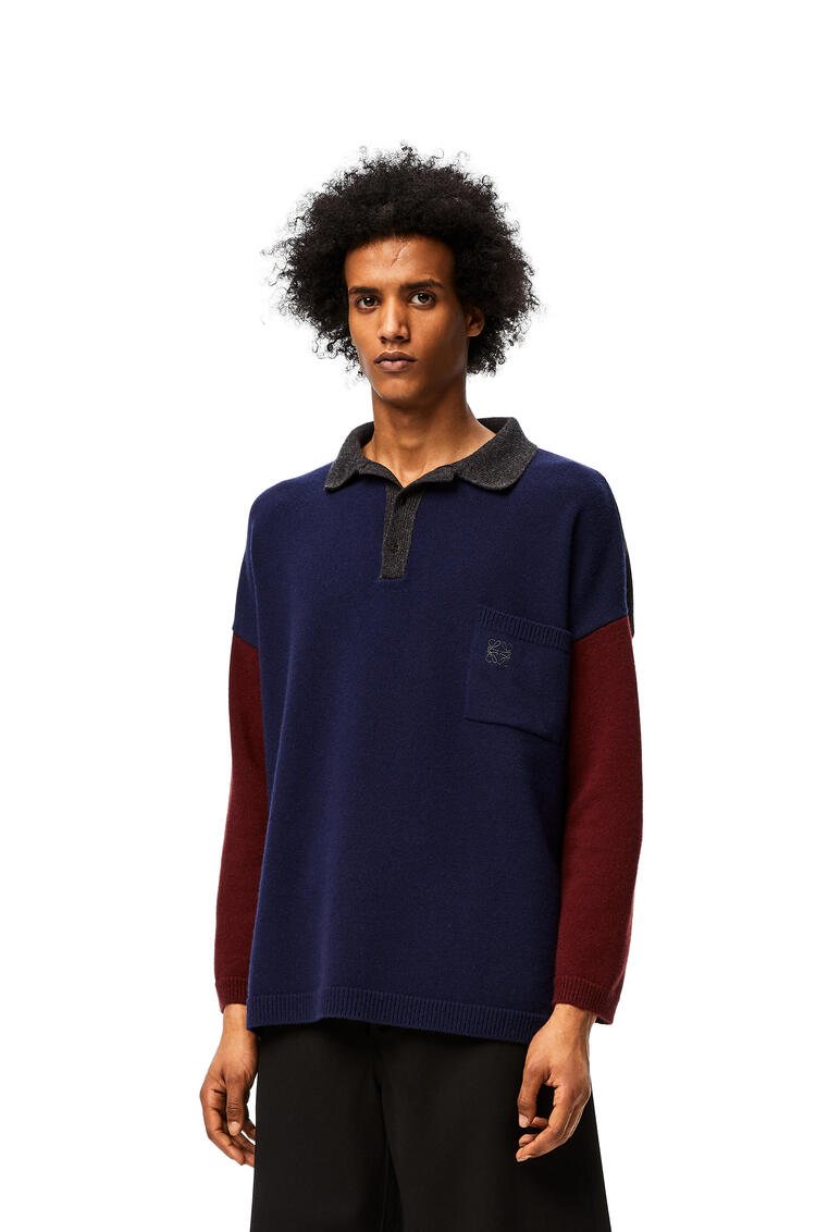 LOEWE Polo collar oversize sweater in wool and cashmere Navy Blue/Grey pdp_rd