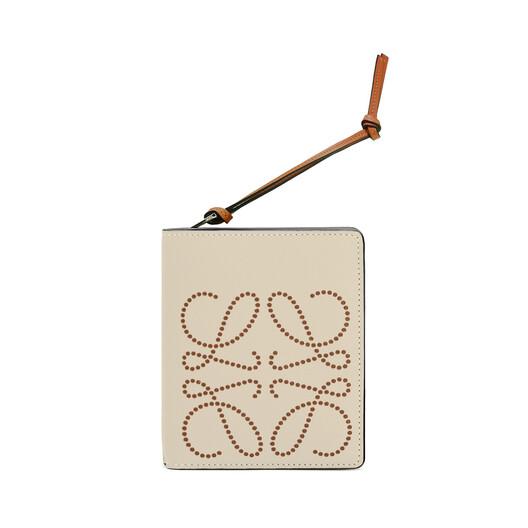 LOEWE Brand Compact Zip Wallet Light Oat/Tan front