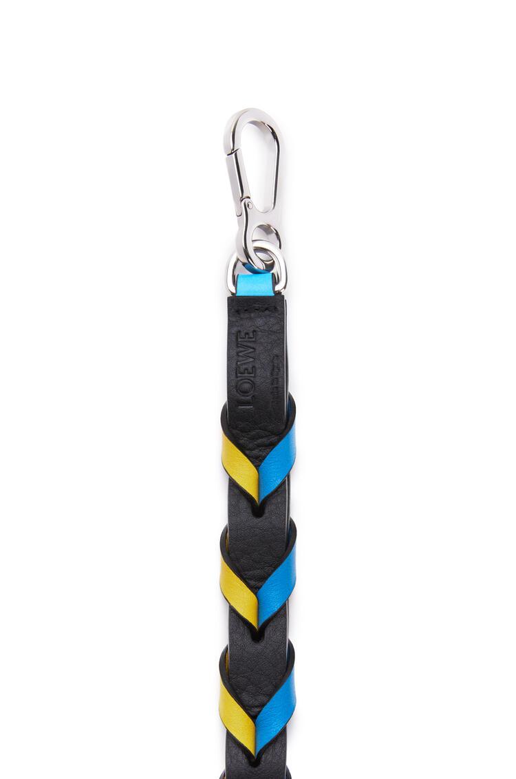 LOEWE Thin Braided strap in classic calfskin Topaz Blue/Yellow pdp_rd