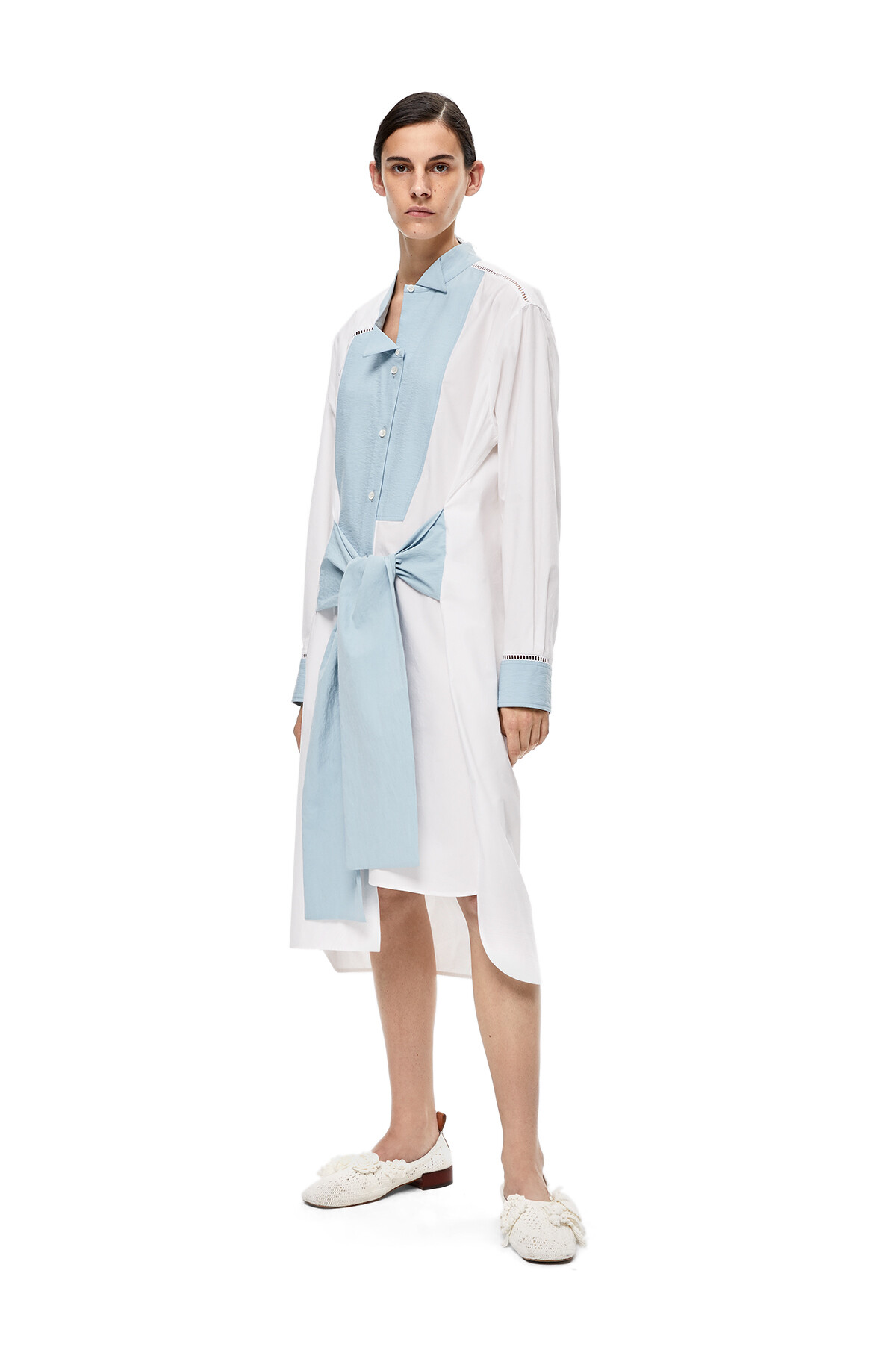 LOEWE Asymtric Shirt Dress White/Blue front