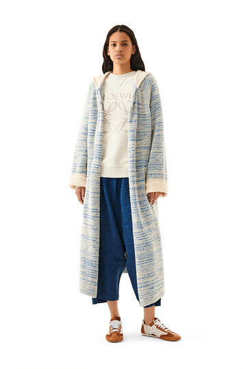 LOEWE Hooded Knit Robe Coat Blue/Beige front