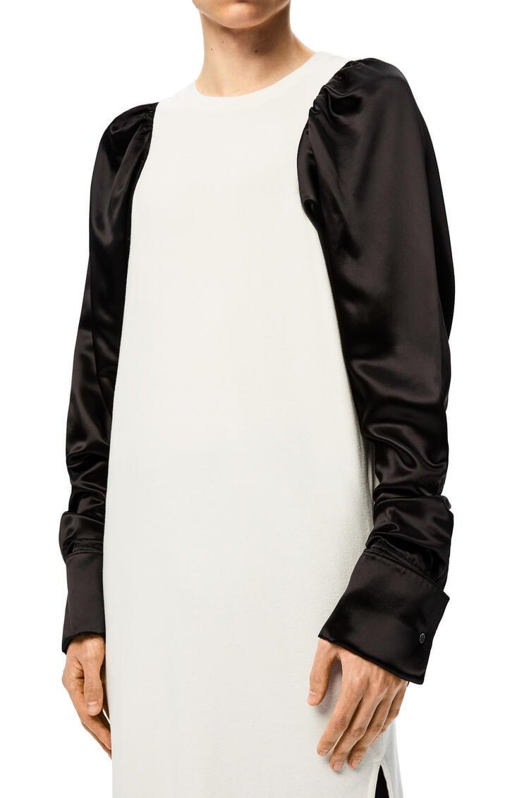 LOEWE Camiseta bicolor de manga larga en algodón y viscosa Ecru/Negro pdp_rd
