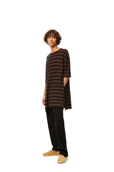 LOEWE Rib long t-shirt in striped linen Brown/Black pdp_rd