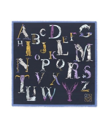 LOEWE 140X140 Scarf Alphabet ネイビーブルー front
