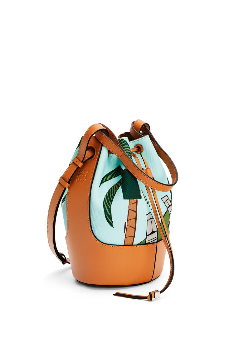 LOEWE Easter Island Balloon bag in canvas and calfskin Mint/Multicolor pdp_rd