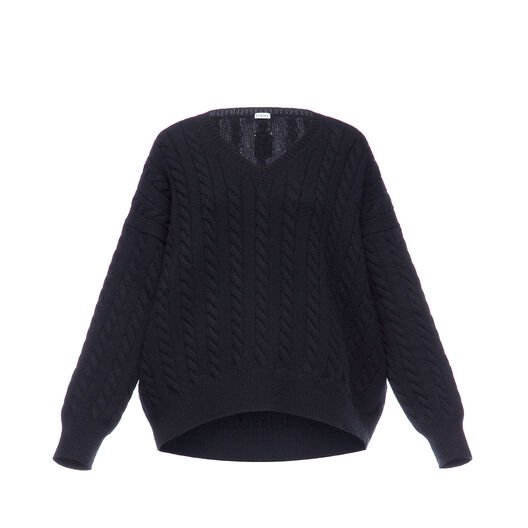 LOEWE Cable Knit V Neck Sweater 黑色 front