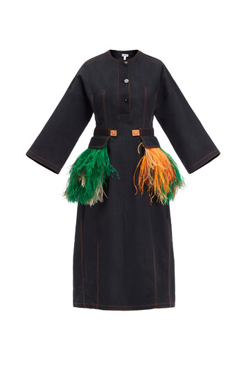 LOEWE Feather Trim Coat Dress Black front