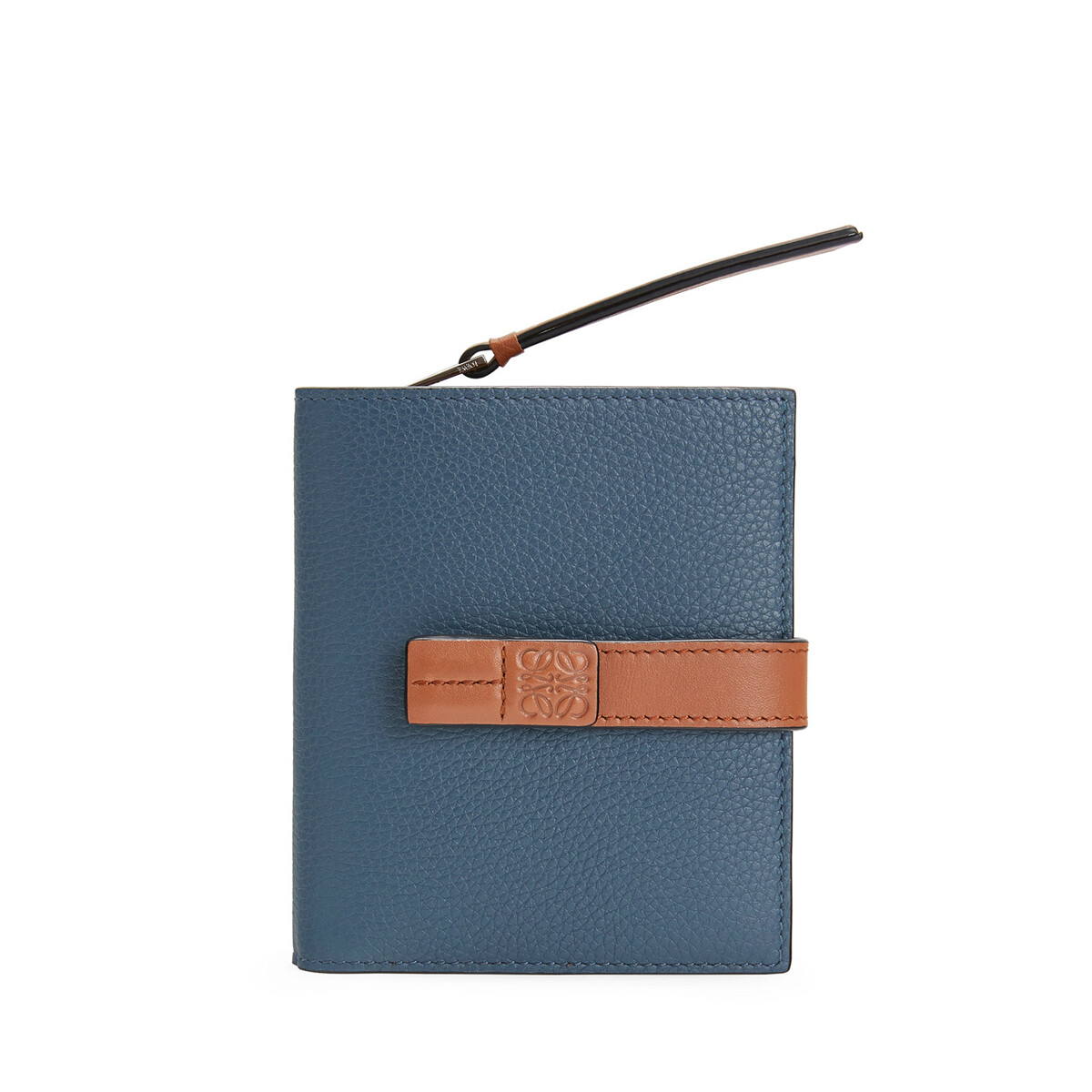 LOEWE コンパクト ジップ ウォレット Steel Blue/Tan front
