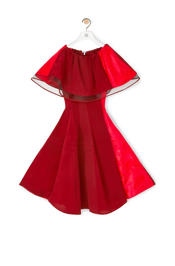 LOEWE Ruffle Cape Patchwork Dress Red front