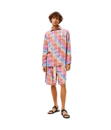 LOEWE Pantalón Corto De Algodón Tie Dye A Cuadros Multicolor front