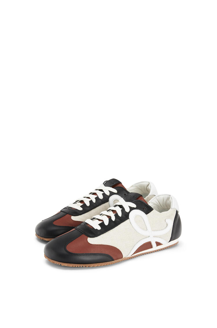 LOEWE Ballet runner in linen and calfskin Sand/Dark Brown pdp_rd