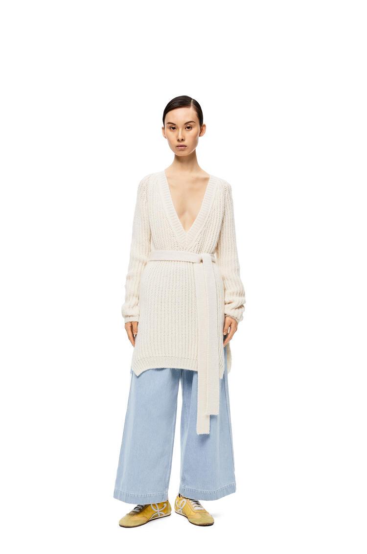 LOEWE Ribbed belted sweater in alpaca Optic White pdp_rd