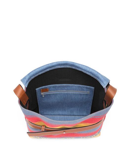 LOEWE Strap Messenger Stripes Bag Multicolor/Bue Denim/Tan all