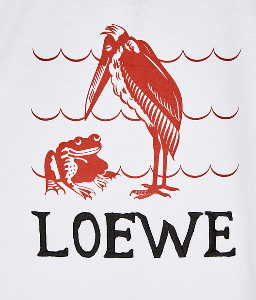LOEWE T-Shirt Loewe Animals Embroidered 白 front