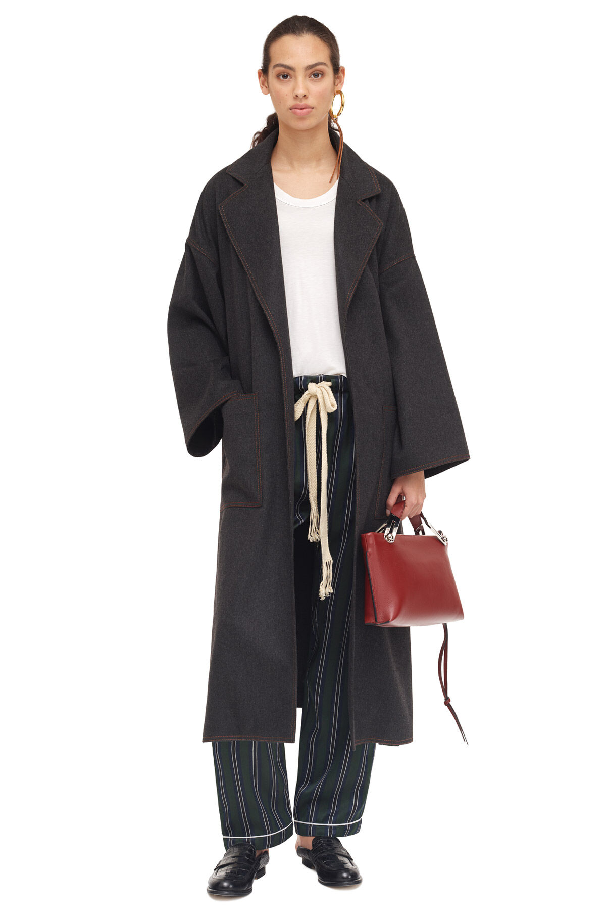 LOEWE Oversize Belted Coat Gris Melange all