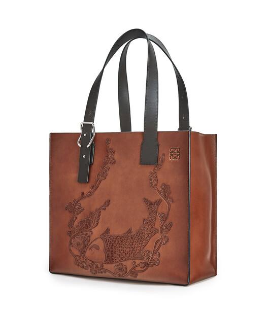LOEWE Buckle Tote Fish Bag Cognac front