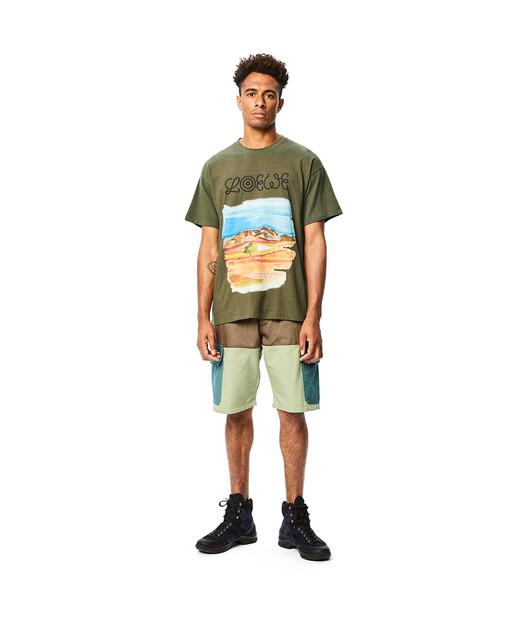 LOEWE Eln Watercolor Print T-Shirt Verde Kaki front