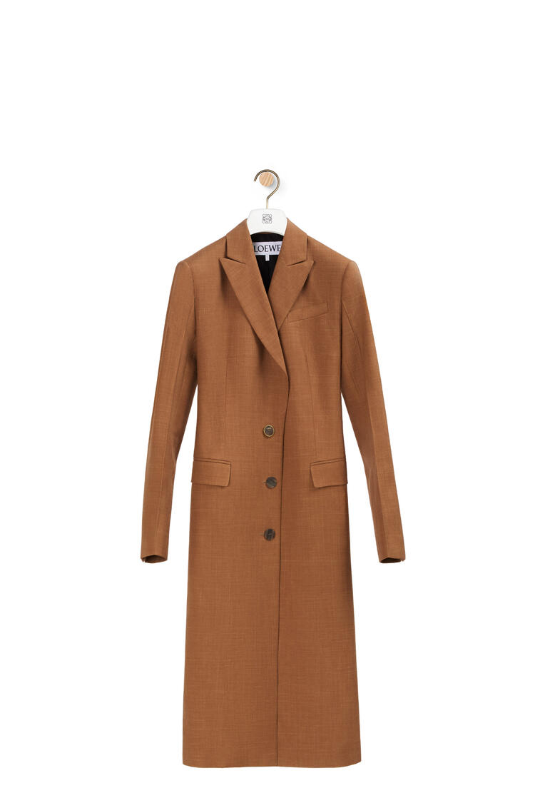 LOEWE Peak lapel coat in virgin wool Tobacco pdp_rd