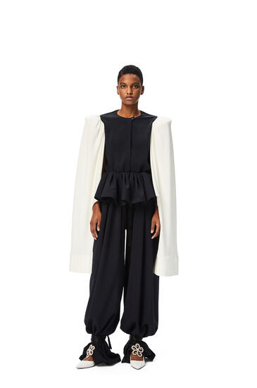 LOEWE Open sleeve blouse in silk Navy/White pdp_rd