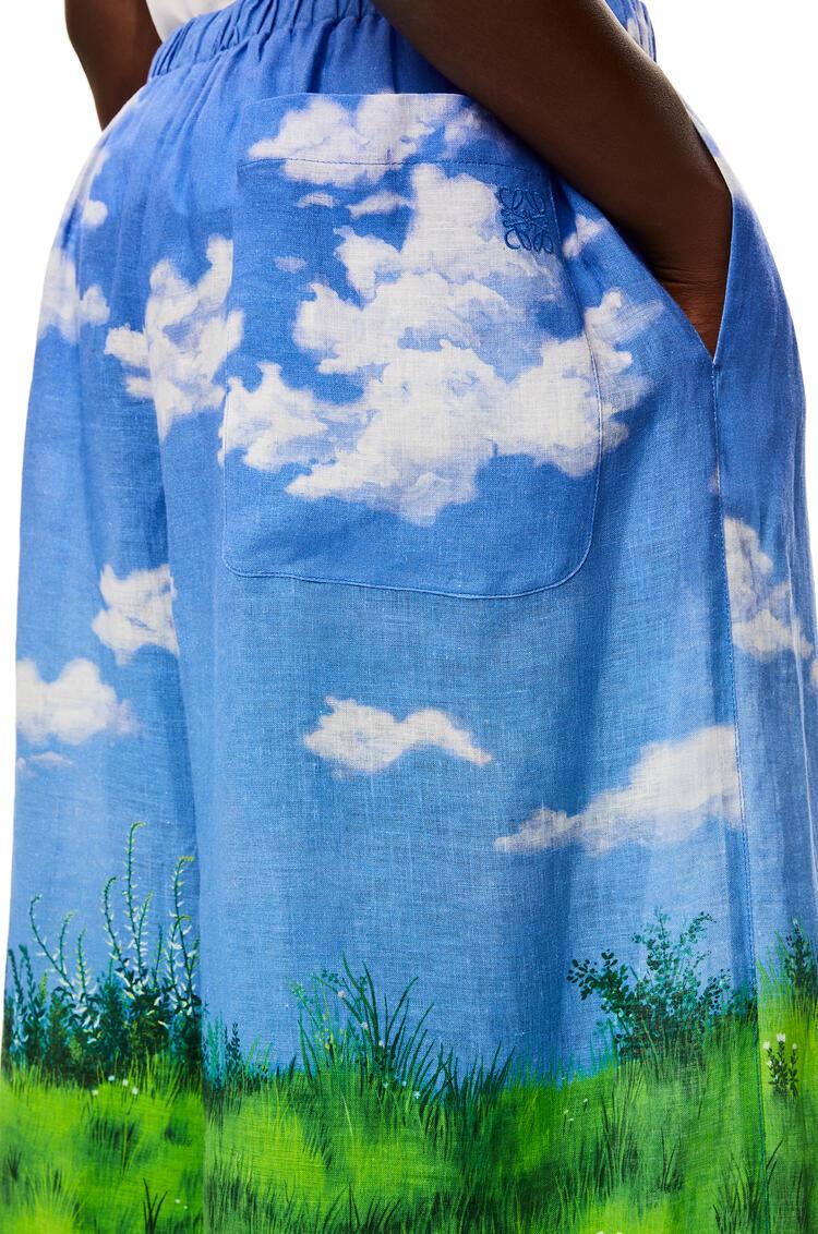 LOEWE Landscape Totoro shorts in linen Sky Blue pdp_rd