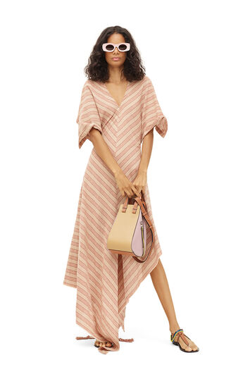 LOEWE Paula Stripe Short Slv Dress Light Beige/Pink front
