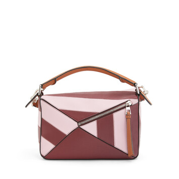 LOEWE Bolso Puzzle Rugby Pequeño Vino/Rosa Pastel front