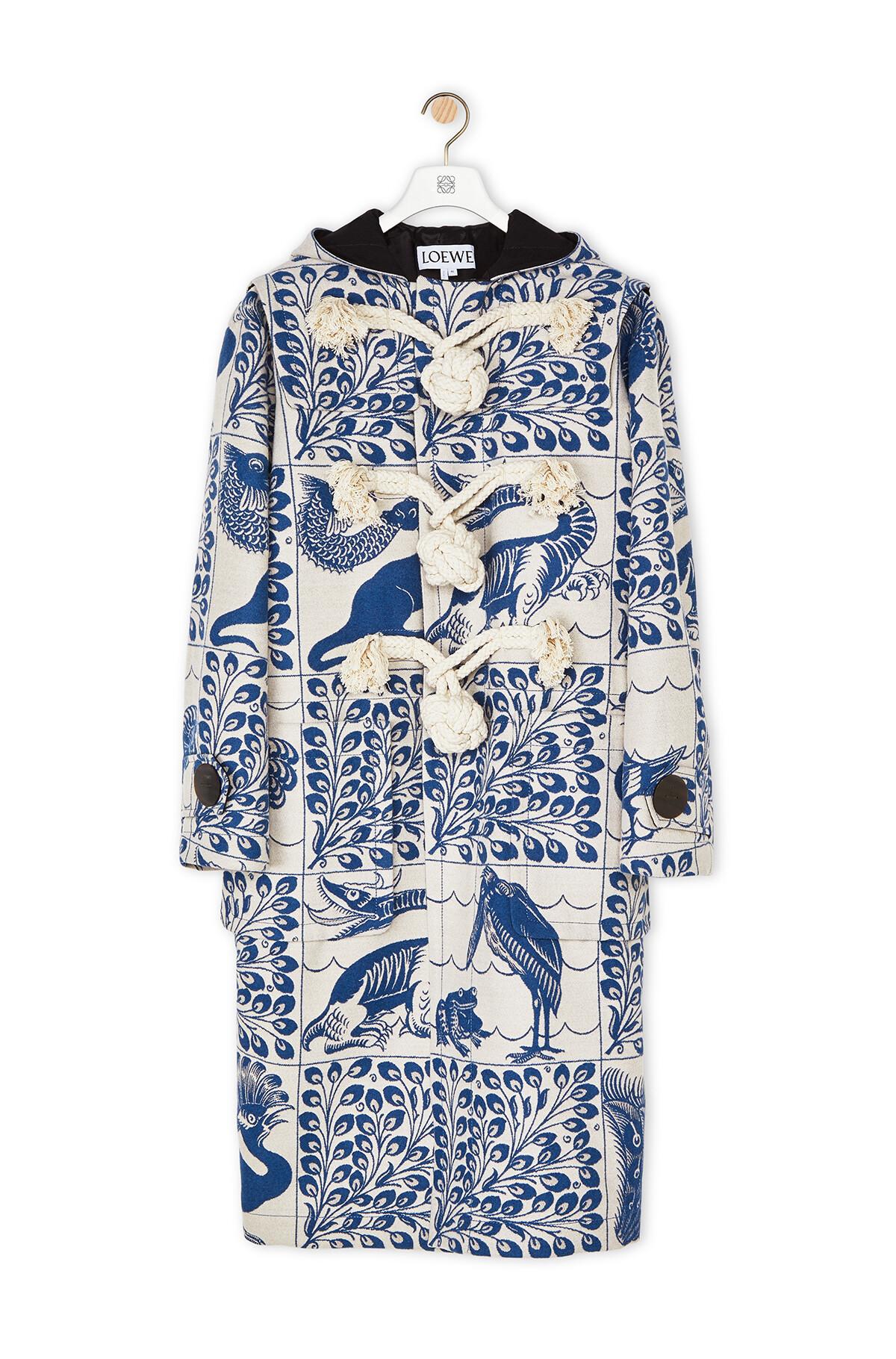 LOEWE Jacquard Duffle Coat Animals White/Blue front