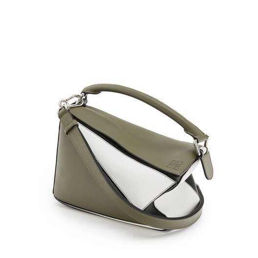 LOEWE Puzzle Small Bag Khaki Green/Soft White front