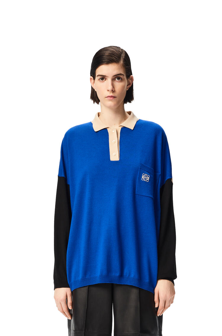 LOEWE Anagram embroidered polo collar sweater in wool Blue/Beige/White pdp_rd