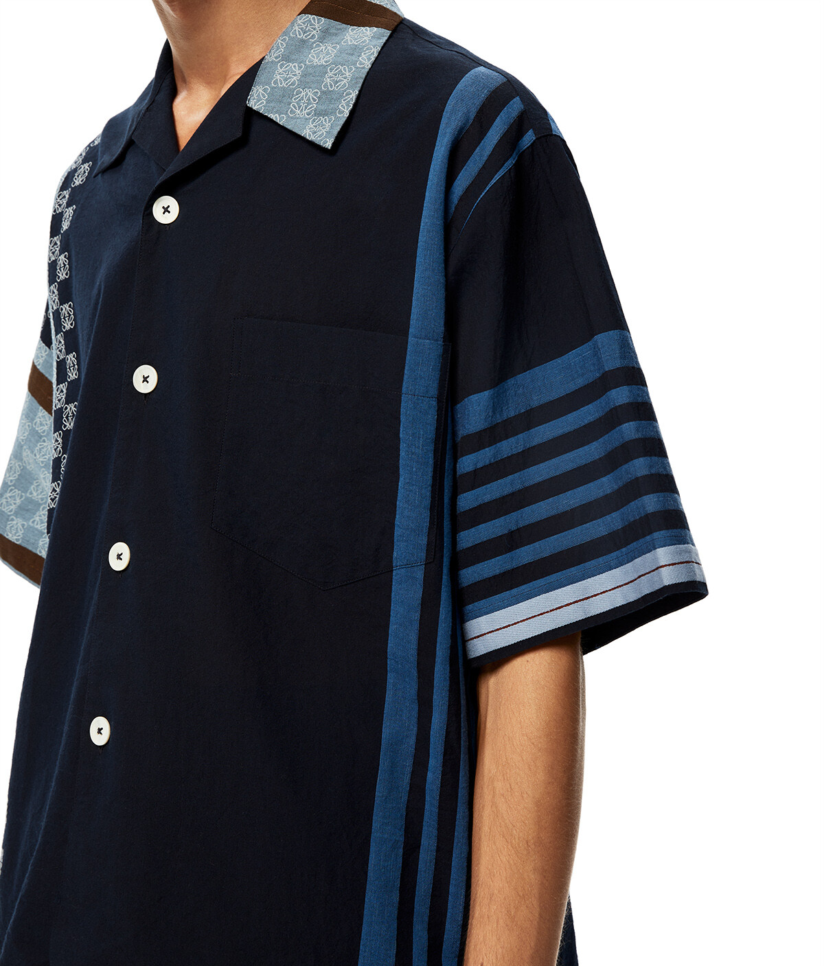 LOEWE Stripe Anagram Bowling Shirt Navy Blue/Multicolor front