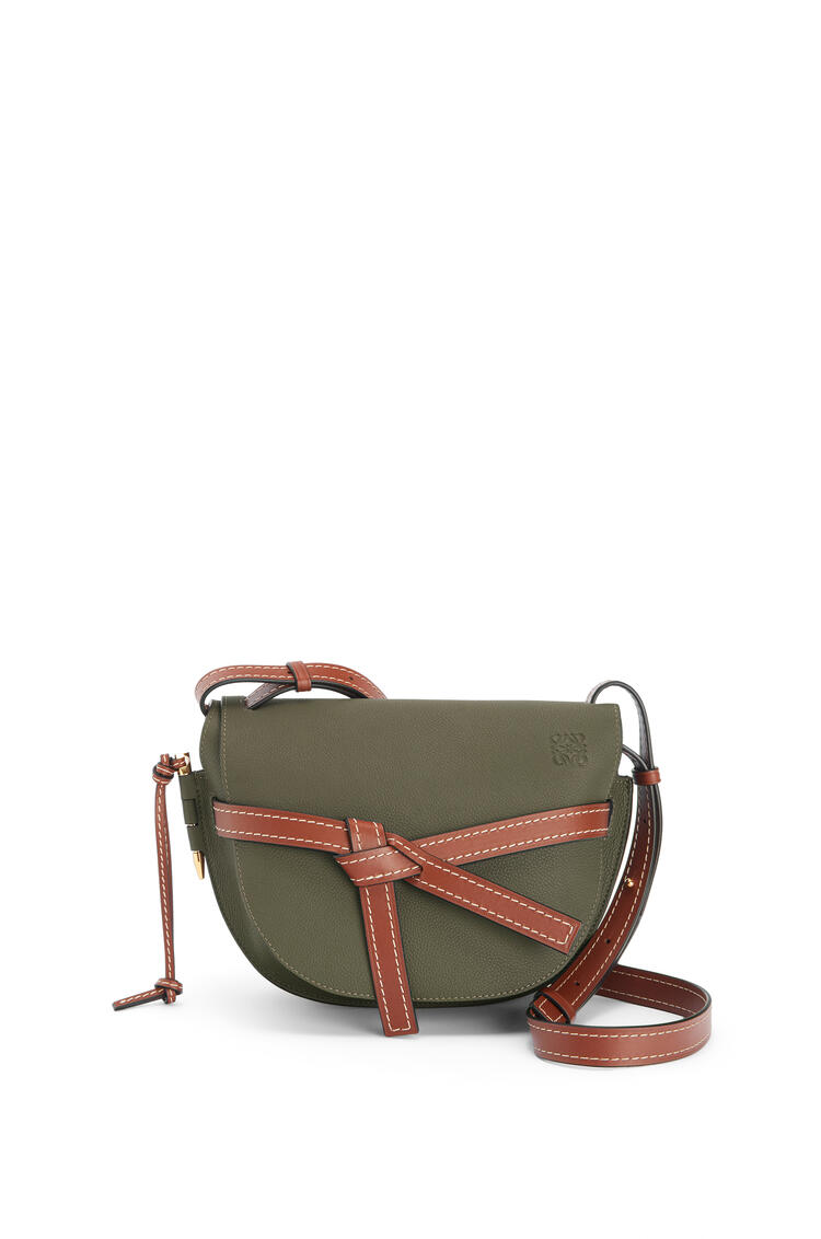 LOEWE Small Gate bag in soft grained calfskin Khaki Green/Pecan pdp_rd